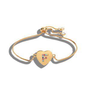 "Gold Heart Letter ""F"" Initial Name CZ Bracelet"